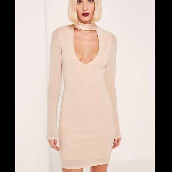a976b1ee3c9f NEW Missguided nude choker neck bodycon dress